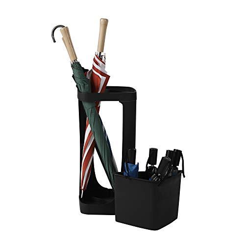 Mind Reader MRUMB-BLK Plastic Small & Large, Entryway Rack Holder for Canes, Walking Sticks, Umbrellas, Home & Office, Black