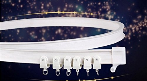 MorningRising 3 Meters Bendable Straight Curved Curtain Track Top Side Mounting Ceilling Installation