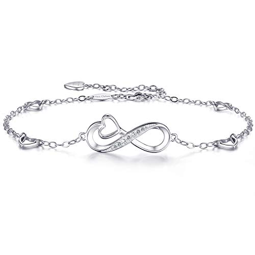 Van Chloe Womens 925 Sterling Silver Infinity Anklet Love Heart Ankle Bracelet Charm Adjustable Large Bracelet Gift for Women Girls