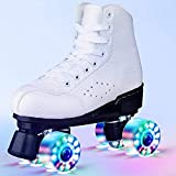 N/W Womens Roller Skates PU Leather High-top Roller Skates Four-Wheel Double Row Flashing Roller Skates for Girls and Boys,Men,Adults