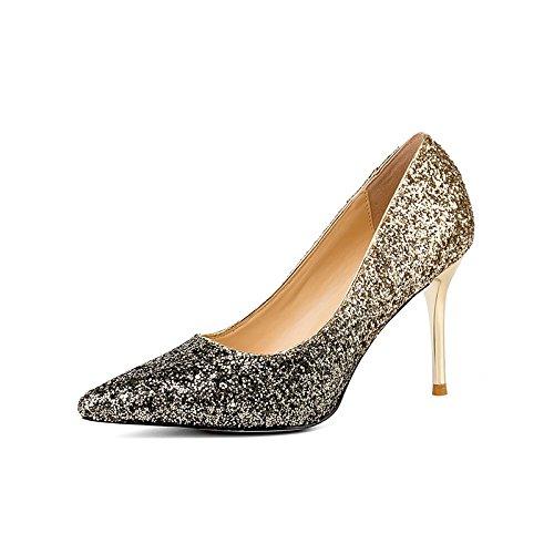 YMFIE Lentejuelas fina con un degradado de colores sexy parte partes tacones altos de damas solo zapatos zapatos de trabajo.39 UE,e 39 EU