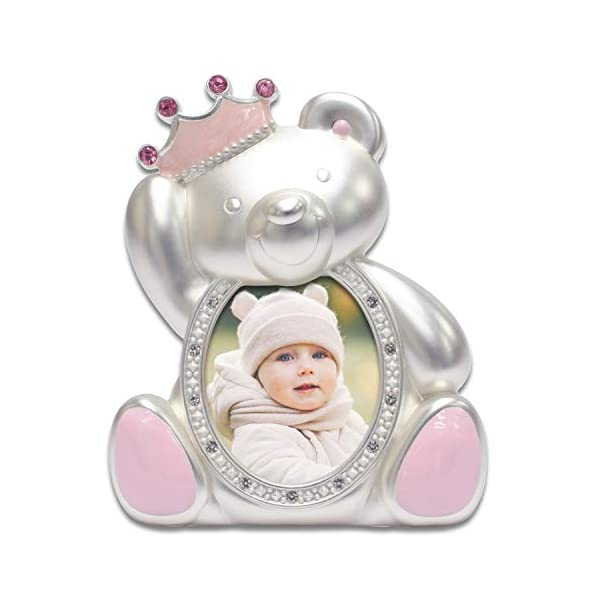 MIMOSA MOMENTS Silver Plated Teddy Bear 2×3 Picture Frame with Rhinestones and Enamel Decor, Metal Baby Picture Frame (Silver & Light Pink)