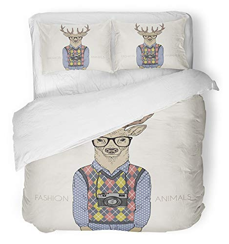 Emvency 3 Piece Duvet Cover Set Breathable Brushed Microfiber Fabric Animal of Deer Dressed up in Hipster Style Camera Drawing Drawn Argyle Hand Boy Bedding Set with 2 Pillow Covers Full/Queen Size