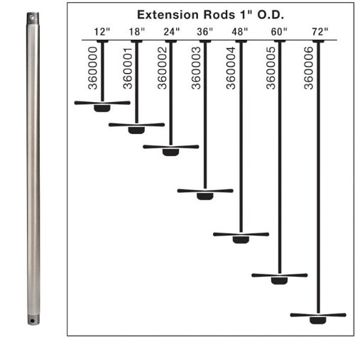 Extension Down Rod - Size/Finish: 60/Polished Nickel