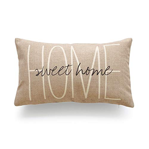Hofdeco Lumbar Pillow Case Tan Grey His and Her Love Script HEAVY WEIGHT FABRIC Cushion Cover 12x20 (1Pc Tan Sweet Home) (Pillows With Words)
