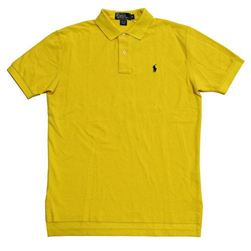 (Polo Ralph Lauren Classic Fit Mens Mesh Polo Shirt (School Yellow w Blue, Small))
