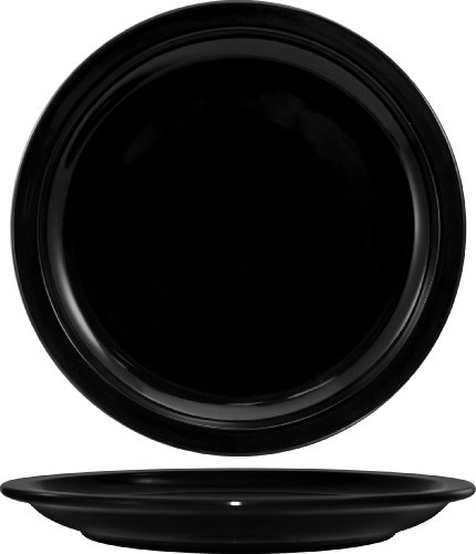 Narrow Rim Dinner Plate - ITI CAN-8-B Cancun Narrow Rim Dinner Plate, 9-Inch, 24-Piece, Black