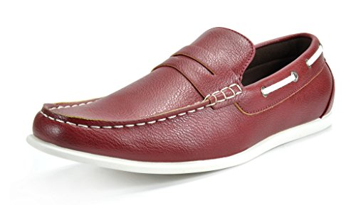 BRUNO MARC NEW YORK Bruno Marc Men's Kilin-02 Red Driving Loafers Moccasins Shoes - 9.5 M (02 Loafers)