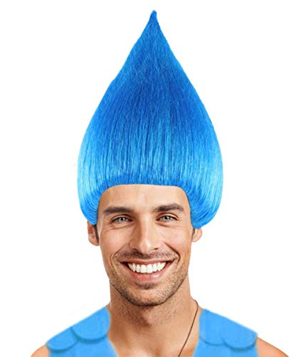 Halloween Party Online Colorful Troll Wig Collection (Adult, Blue)