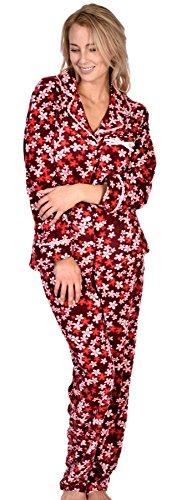 Patricia Women's Elegant Button Up Soft Fleece Floral Print Pajamas (Wine Red Daisy, (Floral Print Knit Pajamas)