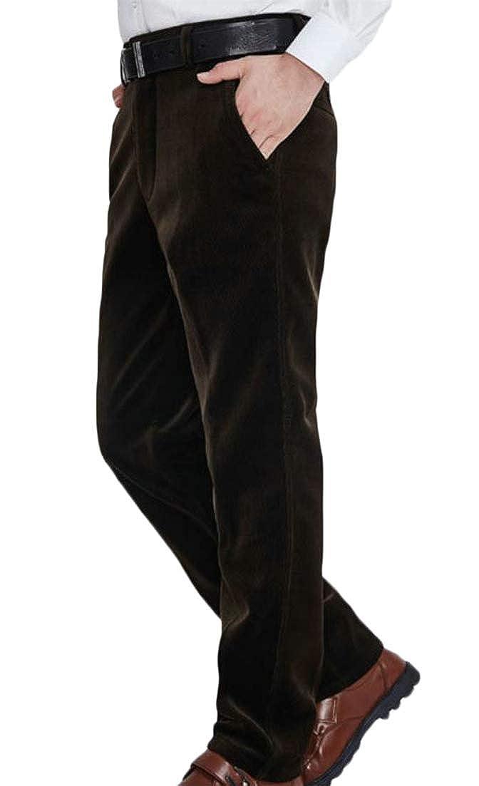 Pandapang Mens Trousers Corduroy Thick Fleece High Rise Straight Leg Pants