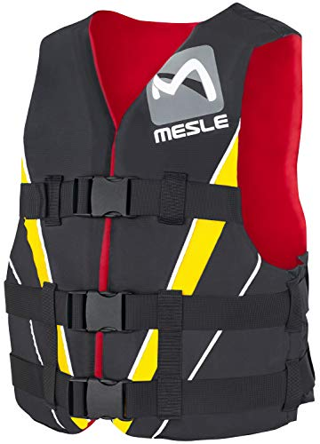 MESLE Nylon Vest V210, XS-XL, 50-N Buoyancy Aid, yellow-red-black, Impact-Vest for Adults and Youths, for Water-ski…