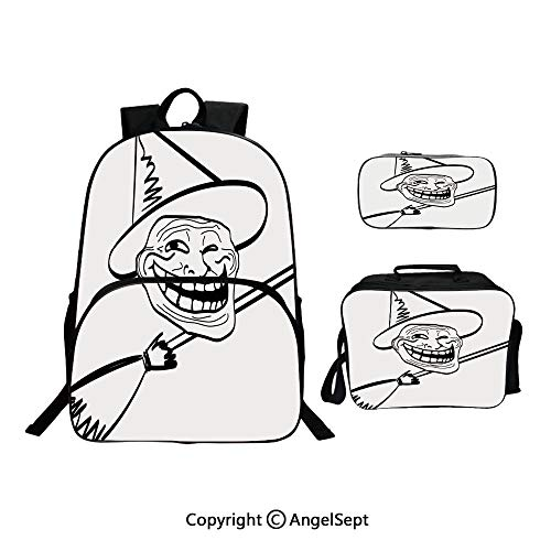 Cute Kids Toddler School Waterproof 3D Cartoon 15.7inches,Halloween Spirit Themed Witch Guy Meme Lol Joy Spooky Avatar Artful Image Black White,With Lunch Bag Pencil Bag Three-piece