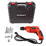 Stalwart Electric Power Drill with 6-Foot Cord – Variable Speed, Reversable Wired Screwdriver with Bubble Level, Carrying Case & Accessories