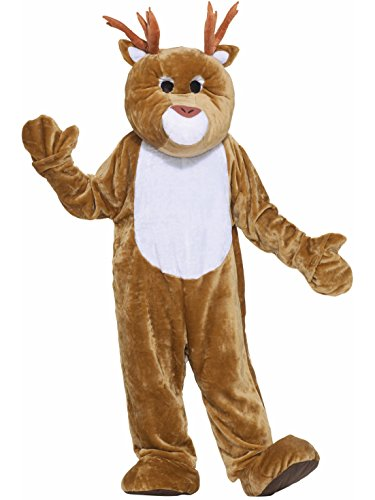 Forum Deluxe Plush Reindeer Mascot Costume, Brown, One Size -