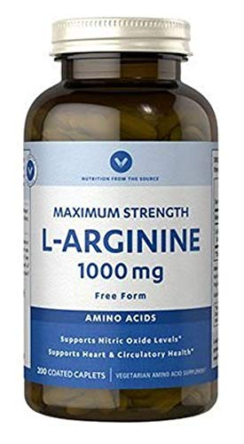 Vitamin World L-Arginine 1,000mg. 200 coated caplets