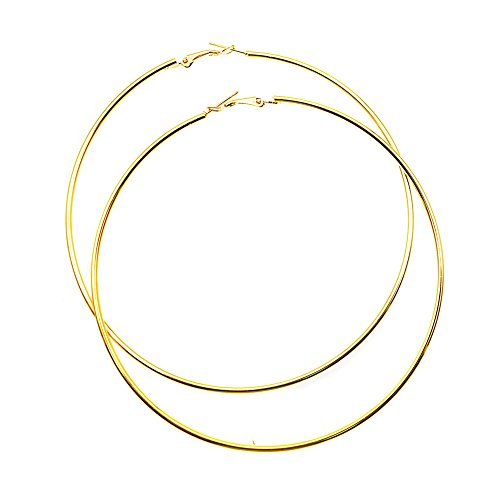 Hypoallergenic Extra Large Basketball Hula Hoop Earrings for Women Men - Big Thin Hoop Earrings (Gold, 100)
