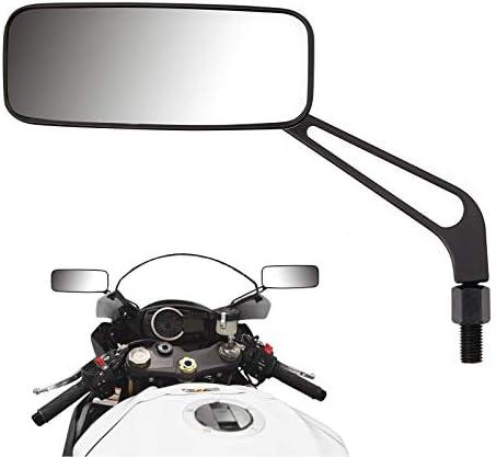 Rückspiegel Rechteckig Aluminium 8 Mm 10 Mm Universal Für Motorrad Roller 1 Paar Schwarz Auto
