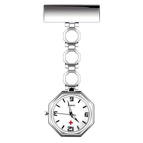 CestMall Nurse Watch Quartz Paramedic Brooch Pin Watch Medical Clip-on Stainless Steel Hanging Pocket Watches Doctor Watches with Gift Box (White)