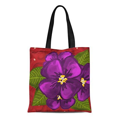 Semtomn Cotton Line Canvas Tote Bag Red Crimson African Violet Dance Delta Sigma Theta Sorority Reusable Handbag Shoulder Grocery Shopping Bags