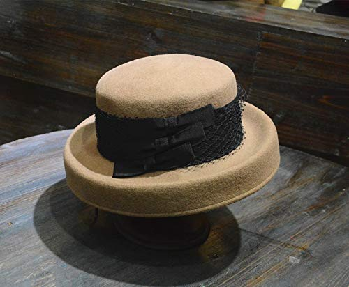 AMYNI Shop Wool French Grace lace Lady Winter Bucket Cap Women Leisure hat Khaki