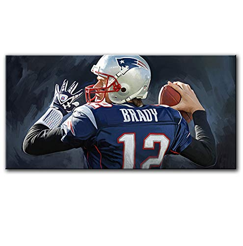 "Art Artist Paintings Prints - Tom Brady New England Patriots NFL Football Quarterback Original Mixed Media Painting Artist Signed Canvas Art Print # 1 (Large 36"" x 18"")"