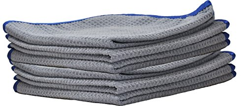 Ultraplush Premium Waffle Microfiber Towels by Detailer 365 | 400 GSM Thread Count for Ultra Smooth Polishing and Drying | Super Absorbent with Silk Lined Border (6 Pack, Grey/Blue 16