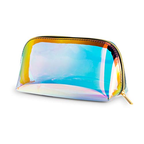 - Holographic Makeup Bag Iridescent Cosmetic Bag Triangle Hologram Toiletries bag Clutch Large Pouch Holographic Handy Makeup Pouch Pencil bag Women Evening Bag