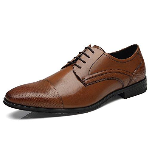 Faranzi Oxford Skor För Män Cap Toe Oxford Mens Finskor Zapatos De Hombre Snörning Bekväm Klassiska Moderna Formella Affärer Skor Frince-1-brun