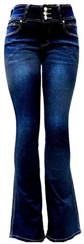 Women's Juniors 70s Trendy Sexy Flare High Waist Fitted Bell Bottom Denim Jeans (9, Dark Blue Hi Waist B925) (Trendy Jeans)