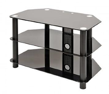 3 Shelf Glass Tv Stand Black Amazoncouk Electronics