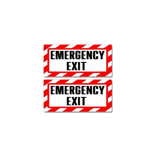 Cheap Emergency Exit Sign - Alert Warning - Set of 2 - Window Business Stickers