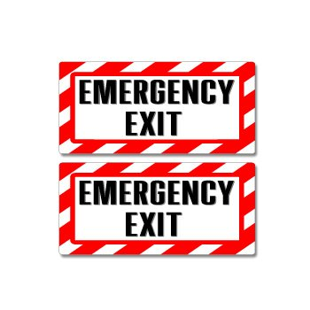 Emergency Exit Sign - Alert Warning - Set of 2 - Window Business -