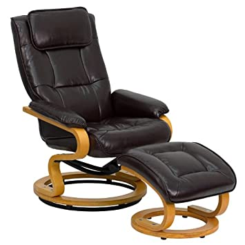 Marvelous Flash Furniture Contemporary Brown Leather Recliner And Ottoman With  Swiveling Maple Wood Base