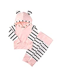 Baby Boy Girl 2pcs Set Outfit Striped Hoodies Top+Long Pants Take Home Outfits