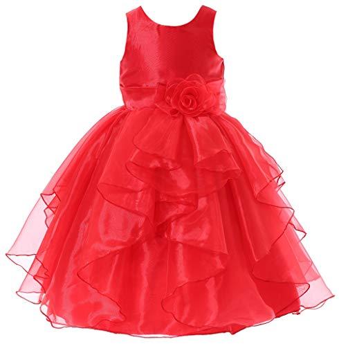 (Bow Dream Flower Girl Dress Bridesmaid Organza Red 8)