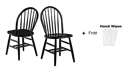 Charmant Winsome Wood Windsor Chair, Set Of 2 (Black Finish + Handi Wipes)
