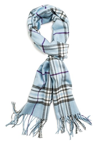 Veronz Soft Classic Cashmere Feel Winter Scarf, Blue Plaid (Scarf Blue Plaid)