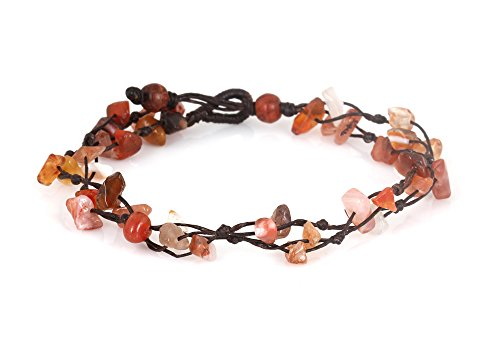 MGD, Orange Carnelian Color Bead Anklet. Beautiful 26 Centimeters Handmade Stone Anklet Made from wax cord. Fashion Jewelry for Women, Teens and Girls…