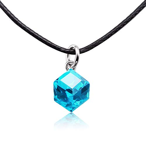 CAT EYE JEWELS Crystal Necklace Black Leather Cord Choker Color Changing Pendant Necklace Blue
