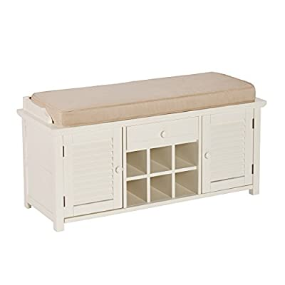 Southern Enterprises AMZ5304CB Storage Bench, Antique White - Features 2 cabinets with adjustable shelves, 1 drawer, and 6 shoe cubbies Removable tan microfiber Cushion allows for cozy seating Country, Farmhouse Styling is complimented by an Antique white Finish - entryway-furniture-decor, entryway-laundry-room, benches - 41jI7LFLLqL. SS400  -