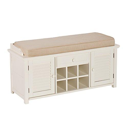 Southern Enterprises AMZ5304CB Storage Bench, Antique White (Southern Enterprises Antique Storage Cabinet)