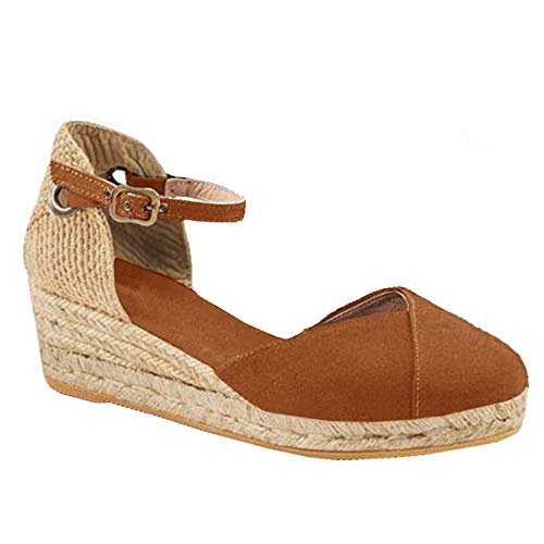 - Womens Closed Toe Espadrilles Platform Mid Wedge Heel Shoes Ankle Strap Sandals (6 B(M) US, Brown)