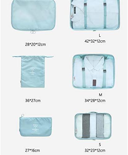 旅行用収納袋 6ピースの耐久性のある旅行の必需品バッグ服靴バッグパッキングキューブ旅行オーガナイザー荷物圧縮ポーチ防水服収納袋のセット ハンドロールアップ再利用可能な服 (色 : グレー, Size : Free size)