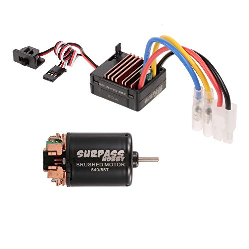 Goolsky Surpass Hobby 540 80T Brushed Motor with 60A ESC BEC Combo for 1/10 Off-Road Rock Crawler Climbing RC Car (540 55T Brushed Motor)