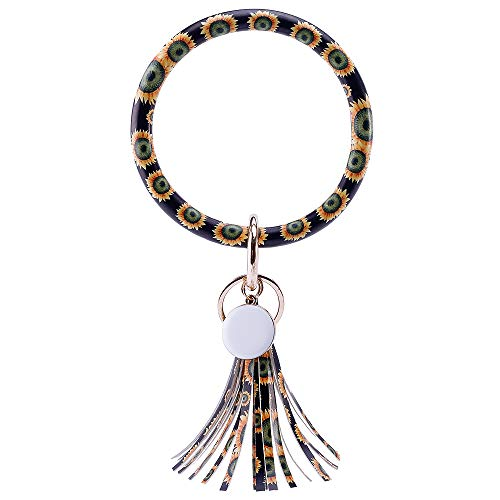 Tassels leather Keychain O Circle PU Keychain for Women Vegan Key Ring