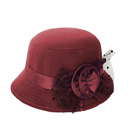 Price comparison product image Baigoods Fashion Royal Family Princess Women Beach Retro Flower Felt Bowler Solid Color Fedora Hat Bowler Net Yarn Caps (Red wine)
