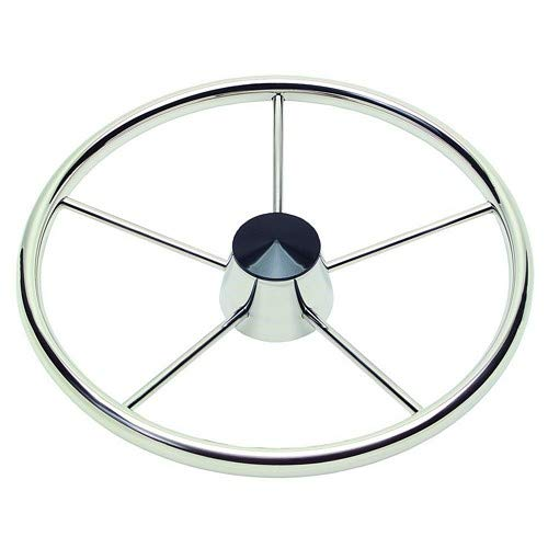 "Schmitt 170 13.5"" Stainless 5-Spoke Destroyer Wheel W/Black Cap And Standard Rim - Fits 3/4"" Tapered Shaft Helm"
