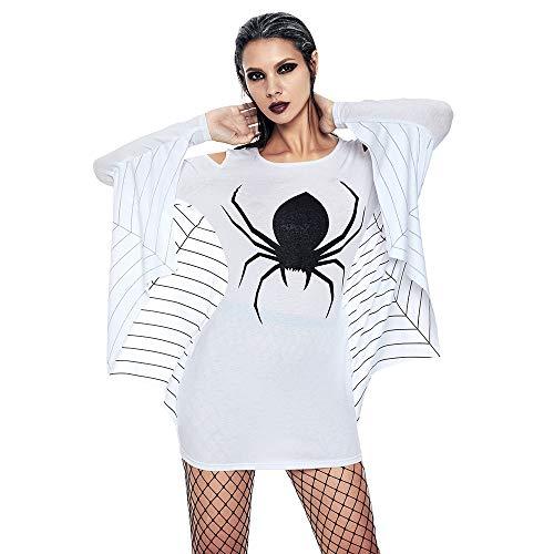 Big Promotion!Toimoth Women's Halloween Off Shoulder Spider Uniform Long Sleeve Bat Sheath Mini Dress(White,2XL) -