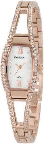 Armitron Women's 75/3531MPRG Swarovski Crystal Accented Rosegold-Tone Bangle Watch